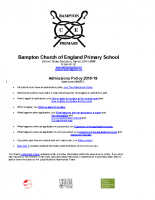 2018 Bampton admissions policy