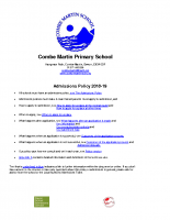 2018 Combe Martin admissions policy